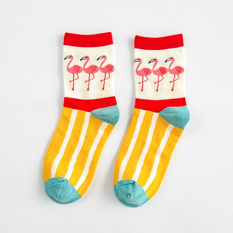 Funny Soft Fashion Harajuku Bird Cartoon Animal Flamingo Cotton   Socks   Comfortable In Tube Female Women Girl Sox Calcetines 2019