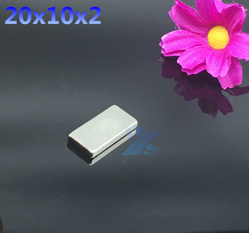 10pcs  Free shipping 20mmx10mmx2mm 20x10x2  Strong Cuboid Fridge square  Magnet 20*10*2 Rare Earth NeodymiumArt Craft Connection