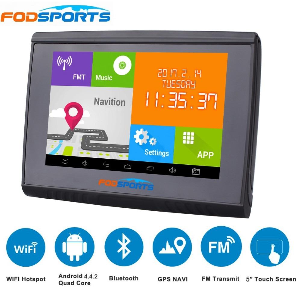 где купить 2018 Updated 5 Inch LCD Android 4.4.2 WIFI 512M RAM 8GB Flash GPS Navigation Bluetooth Waterpoof Navigator For Motorcycle/Car дешево