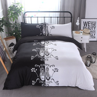 Polyester Bedding Set Shoes Print Luxury Home Textile White Black Duvet Cover for Single Double Bed Linen Sheets King Queen Size