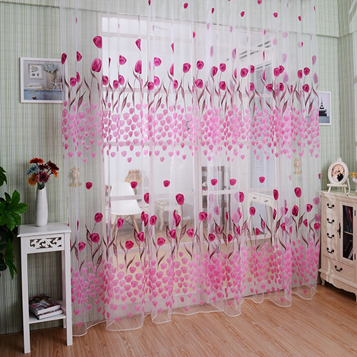 Home Romantic Tulip Print Voile Sheer Curtain Room Drape Divider Valance For Door Window Curtain