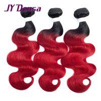 Pre Colored Brazilian Body Wave Hair 3 Bundles Ombre Human Hair Extensions Wave Bundles 1B/Red Non Remy Jy Deusa Free Shopping