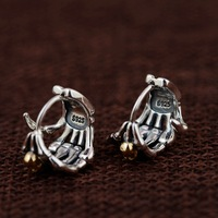 925 Sterling Silver Earrings Skull Gold Color Fingers Stud Earrings for Women Men Vintage Punk Rock Personality Fashion Jewelry
