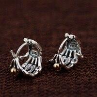 925 Sterling Silver Earrings Skull Gold Color Fingers Stud Earrings for Women Men Vintage Punk Rock Personality Fashion Jewelry