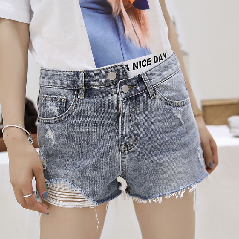 New Skinny Jeans Hot Irregular Shorts Cotton Women Clothes 2019 Summer Rave Mini Fem Me Plus Size Sexy Blue Washed