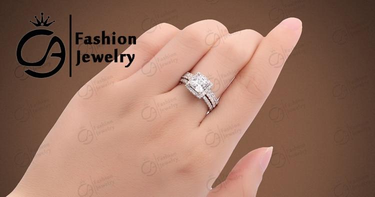 Ola Fashion Jewelry White Gold Halo 2pc Insert Bridal Set Cubic
