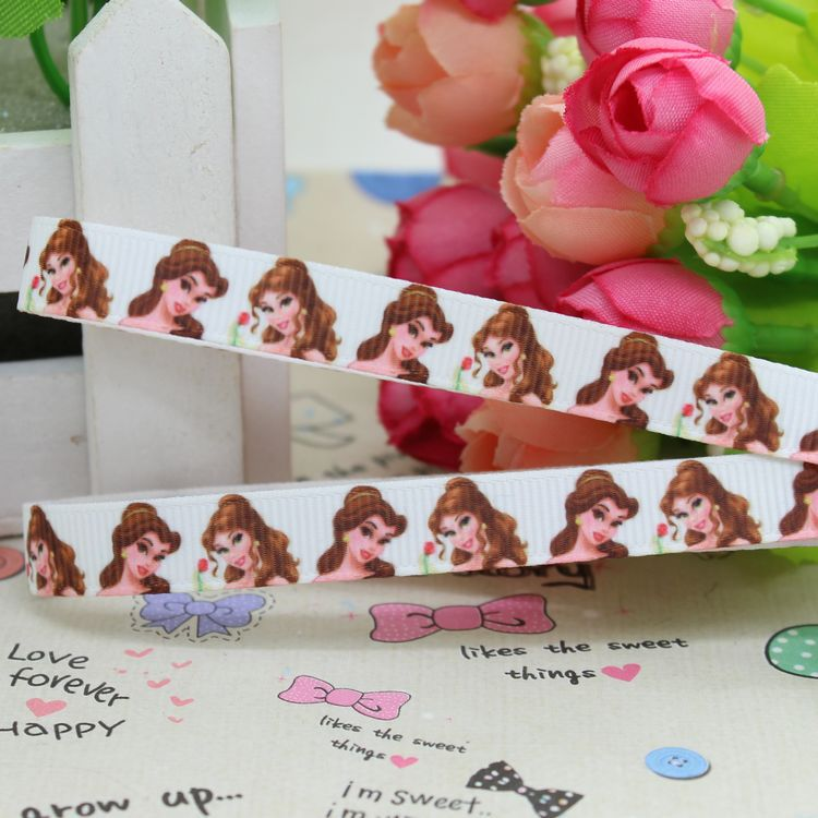 √3 8   Free shipping princess printed grosgrain ribbon hairbow diy ... fd2b65b910cd