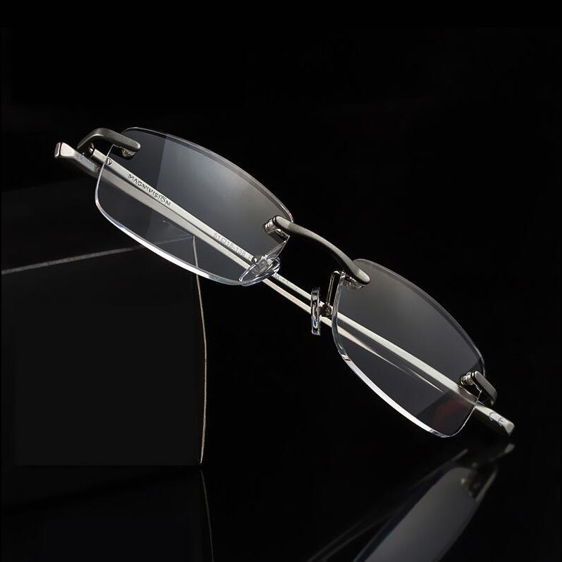 a7239be7a54 Men Women Framelesss Reading Glasses Mental Leg Resin Lens Eye Glasses  Ultralight Eyewear R130-in Reading Glasses from Apparel Accessories on  Aliexpress.com ...