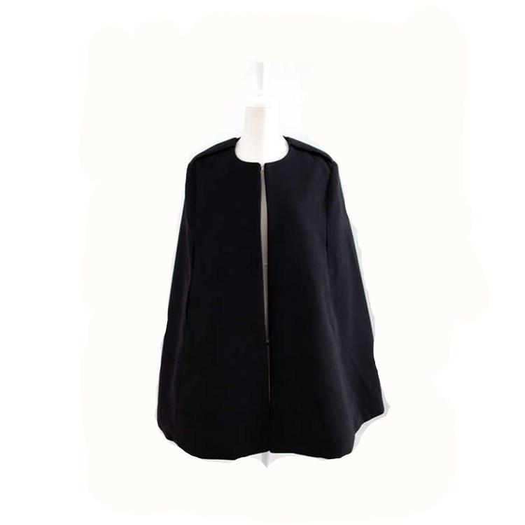 2019 Autumn Winter Batwing Cape Outwear Loose Warm Poncho Jacket Women Elegant Thin Cloak Coat Sleeveless Open Stitch Long Coat in Wool amp Blends from Women 39 s Clothing