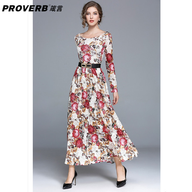 4950e5a2893 PROVERB Bohemian Women Party Swing Dress Floral Round Neck Long Sleeves  Holiday Casual Maxi Dress Elegant Vestidos Robe