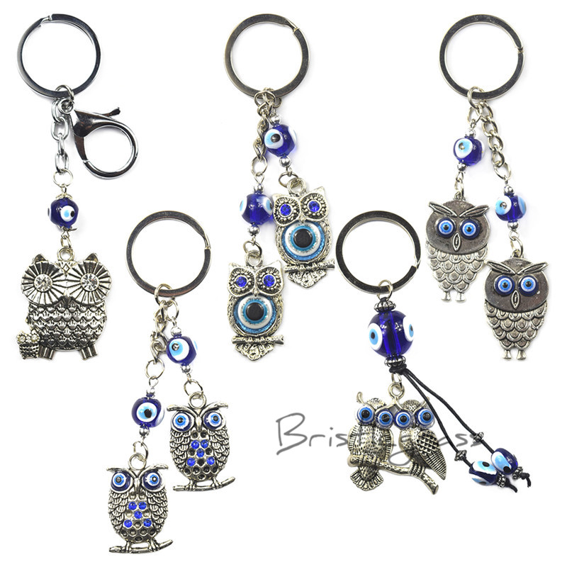 Bristlegrass Turkish Blue Evil Eye Rhinestone Owl Keychain Car Key Chain Ring Holder Amulet Lucky Charm Hanging Pendant Blessing Limpid In Sight Jewelry Sets & More Jewelry & Accessories