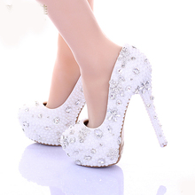 14cm High Heel White Pearl Wedding Shoes 2017 Women Pumps Spring High Heel Bridal Dress Shoes Glitter Rhinestone Party Platforms