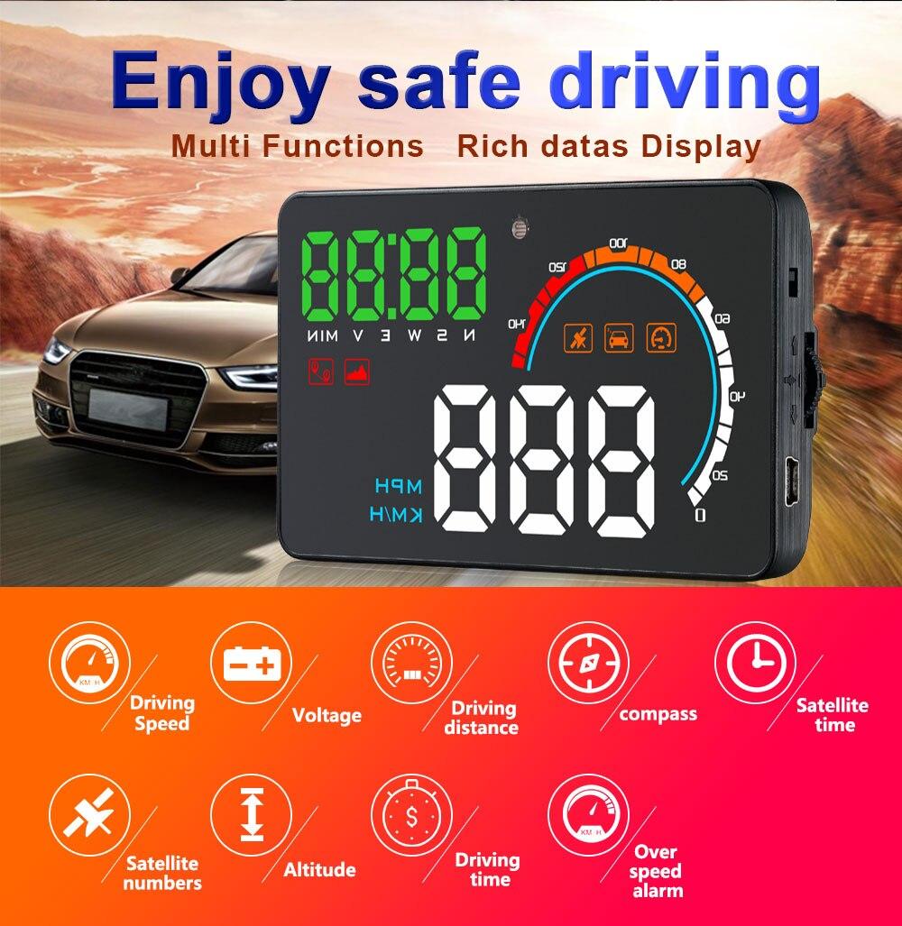 Projecteur universel de vitesse de voiture GPS compteur de vitesse de voiture Q5 HD affichage tête haute Auto HUD pare-brise projecteur Fatigue conduite alarme