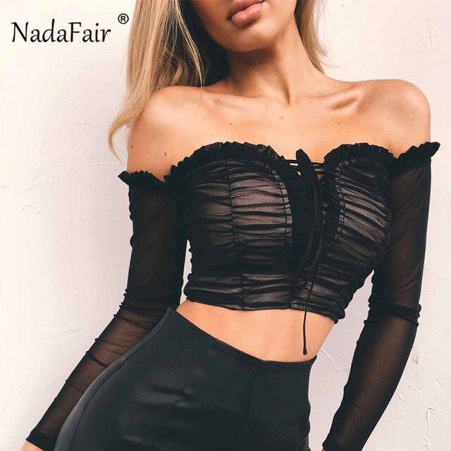 Nadafair סקסי לפרוע כבוי כתף למעלה ארוך שרוול שחור לבן נשים חולצות וחולצות תחבושת Ruched Mesh יבול למעלה נקבה חולצה