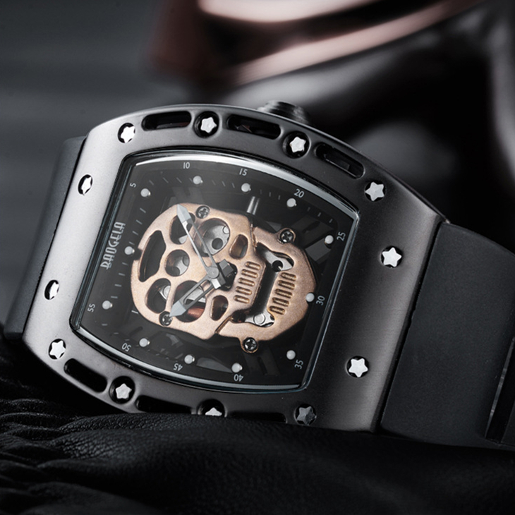 BAOGELA Top Brand Luxury Skull Watch Men Fashion Skeleton Men's Watch Luminous Watches Clock erkek kol saati reloj hombre 2018