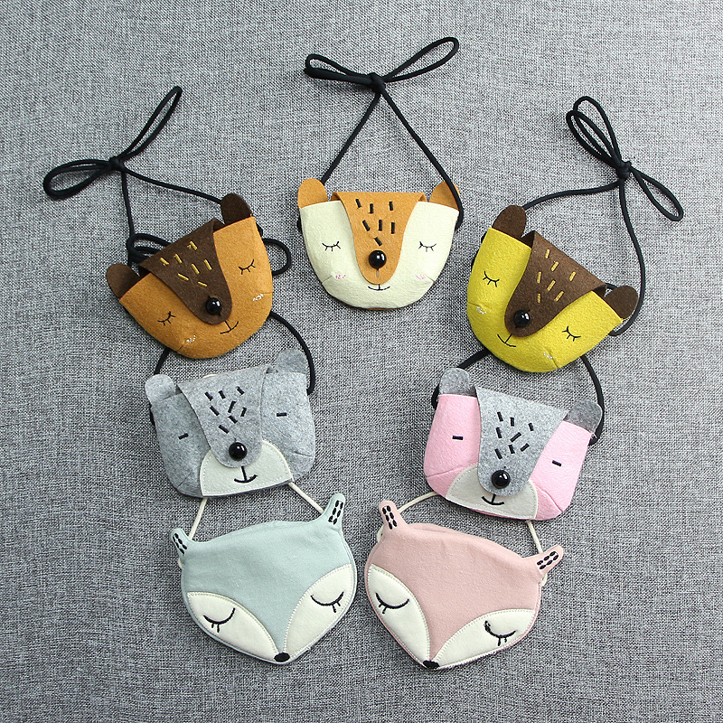 Monsisy Kanak-kanak Handbag Girl Shoulder Bag Coin Purse Cotton 3D Animal Fox Bear Toy Kid Bag Wallet Kawaii Baby Toddler Small Bag