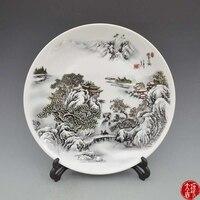 Seltene alte Chinesische porzellan platte  Pastell  Snowy mountains in winter  Dekoration/Sammlung/handwerk  freies verschiffen