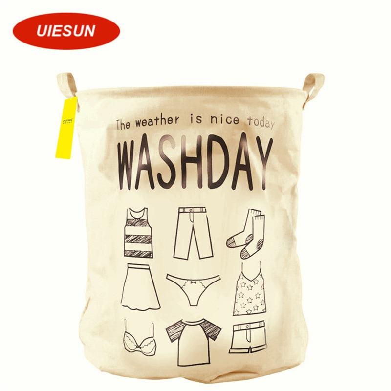 ̿̿̿(•̪ )Washday algodón Lino lavandería cesta de almacenamiento ...
