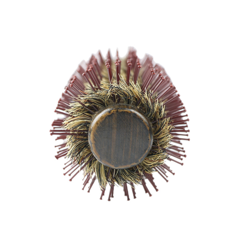 Natural Bristle Round Roller Hair Brush Hair Comb With Non-slip Wood Handle Hairbrush Massage Scalp Salon Hair Styling Tools
