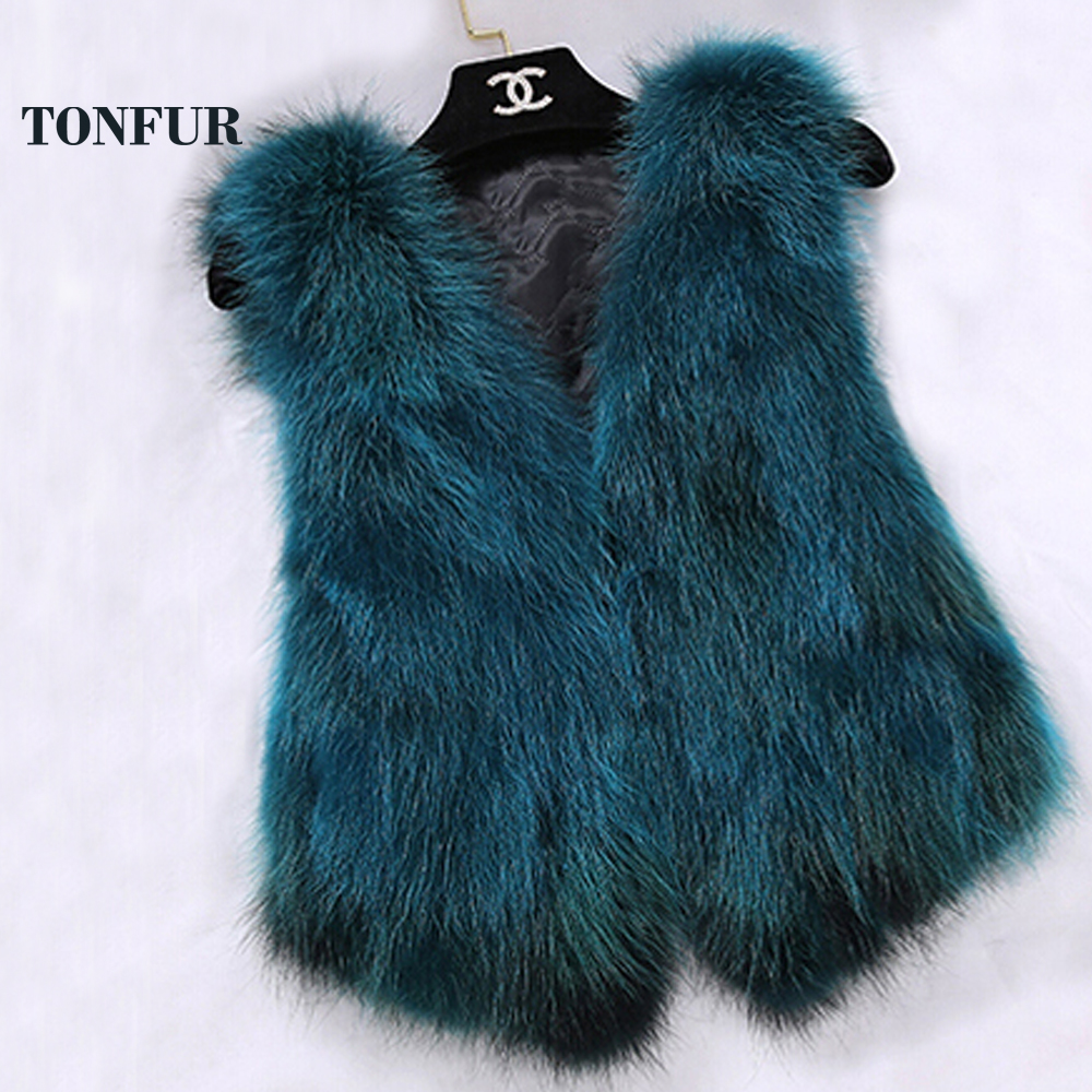 Sleeveless Vest Real Fox Fur Gilvet Natural Fox Fur Vest Women Trend Fashion Factory Wholesale Retail