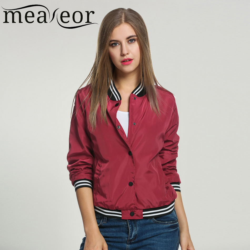 Meaneor Ladies Bomber Jackets Fashion And Retro Baseball Coat For Women Students Ribbed Cuffs Solid Color
