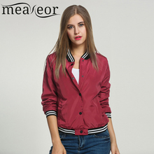 Meaneor Ladies Bomber Jackets Fashion and Retro Baseball coat for women Students Ribbed Cuffs Solid Color Feminina Basic Outwear(China)