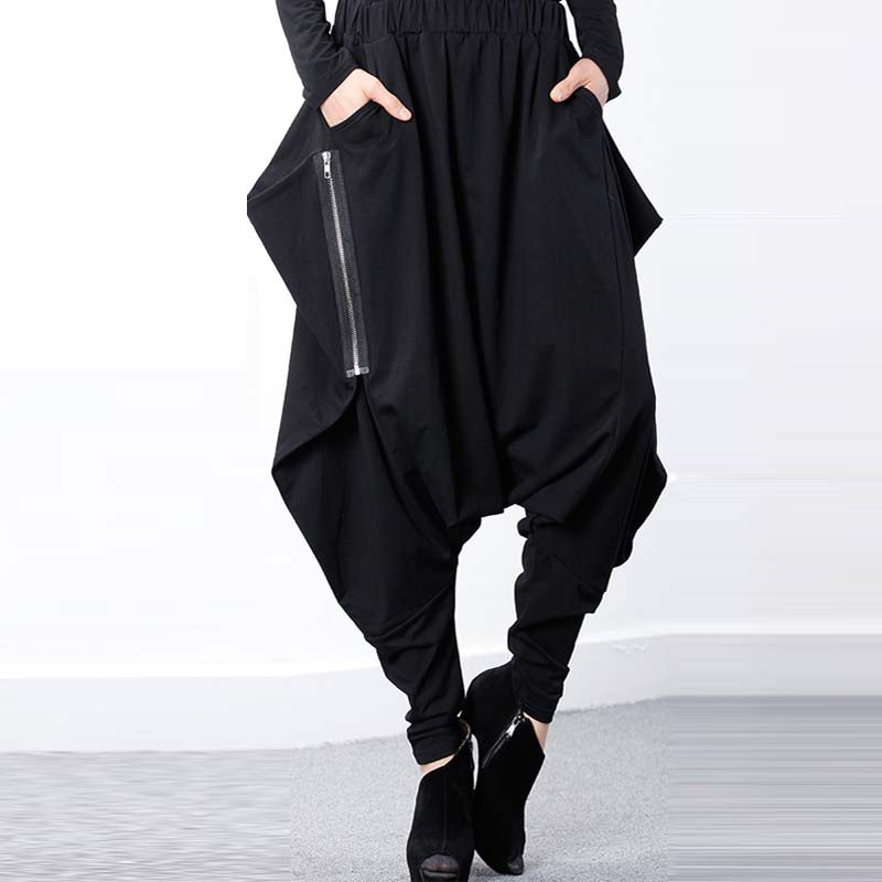 ZANZEA Women Black Elastic Waist Baggy Low-Crotch Trousers Pockets Irregular Gothic Long Pantalon Hip-Hop Harem Pants Plus Size