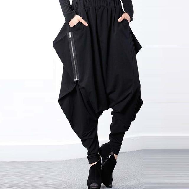 048ca5159ac ZANZEA Women Black Elastic Waist Baggy Low Crotch Trousers Pockets  Irregular Gothic Long Pantalon Hip Hop Harem Pants Plus Size-in Pants    Capris from ...