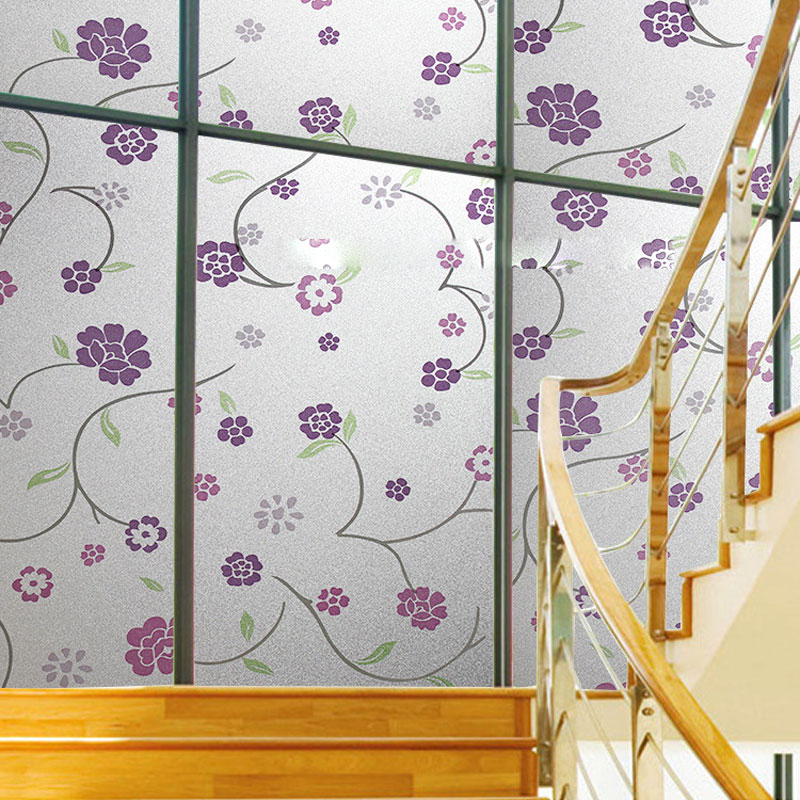 Fashion 45*100cm Flower Stained Glass Film Decorative Stained Glass Window Film Privacy Window Sticker Window Film Decorative