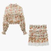 HIGH STREET New Fashion 2019 Designer Runway Suit Set Women's Ruffle Floral Crop Blouse Top Skirt Set