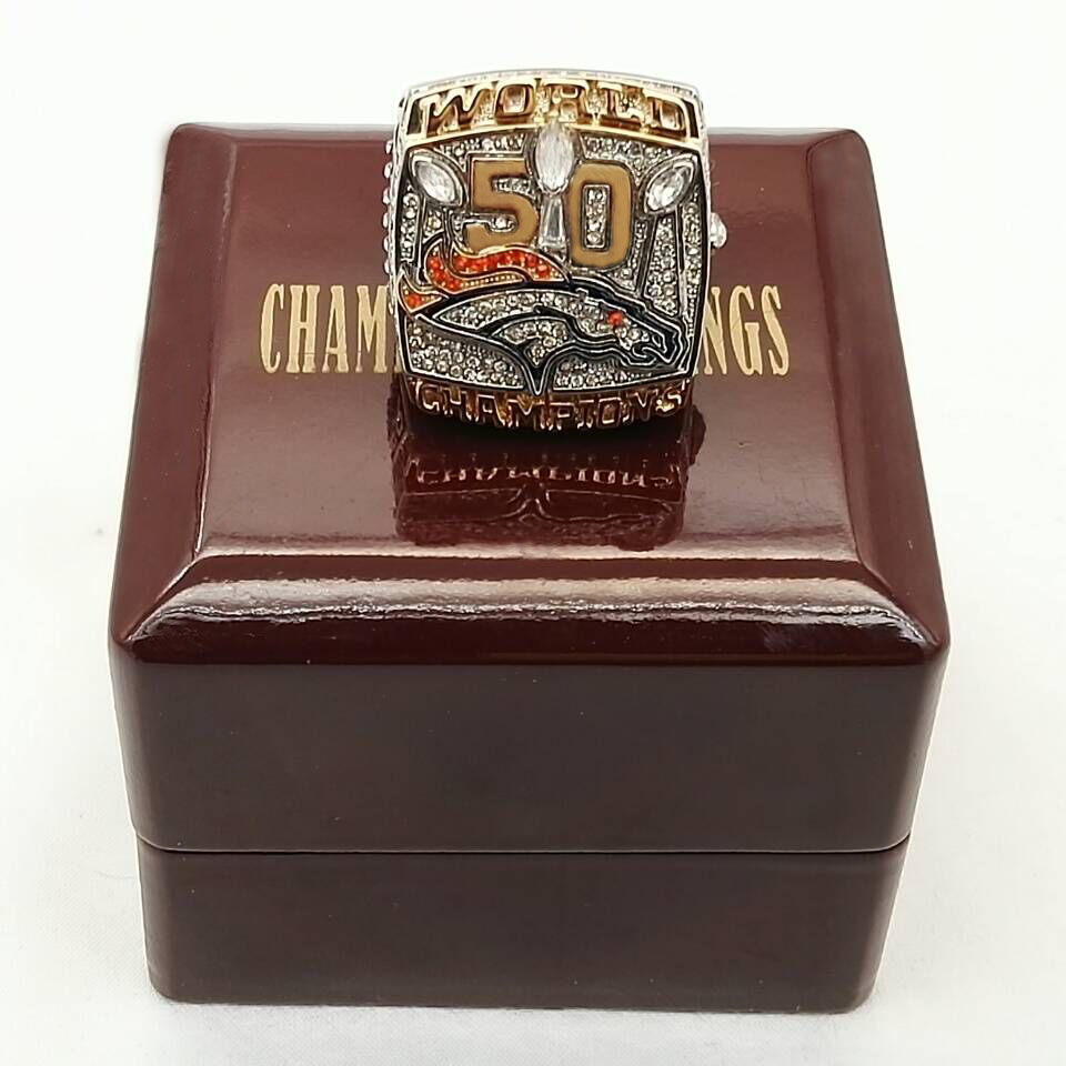 Factory Direct Sale for Miller 2015 Denver Broncos Super Bowl Sports Replica World Championship Rings With Wooden Boxes