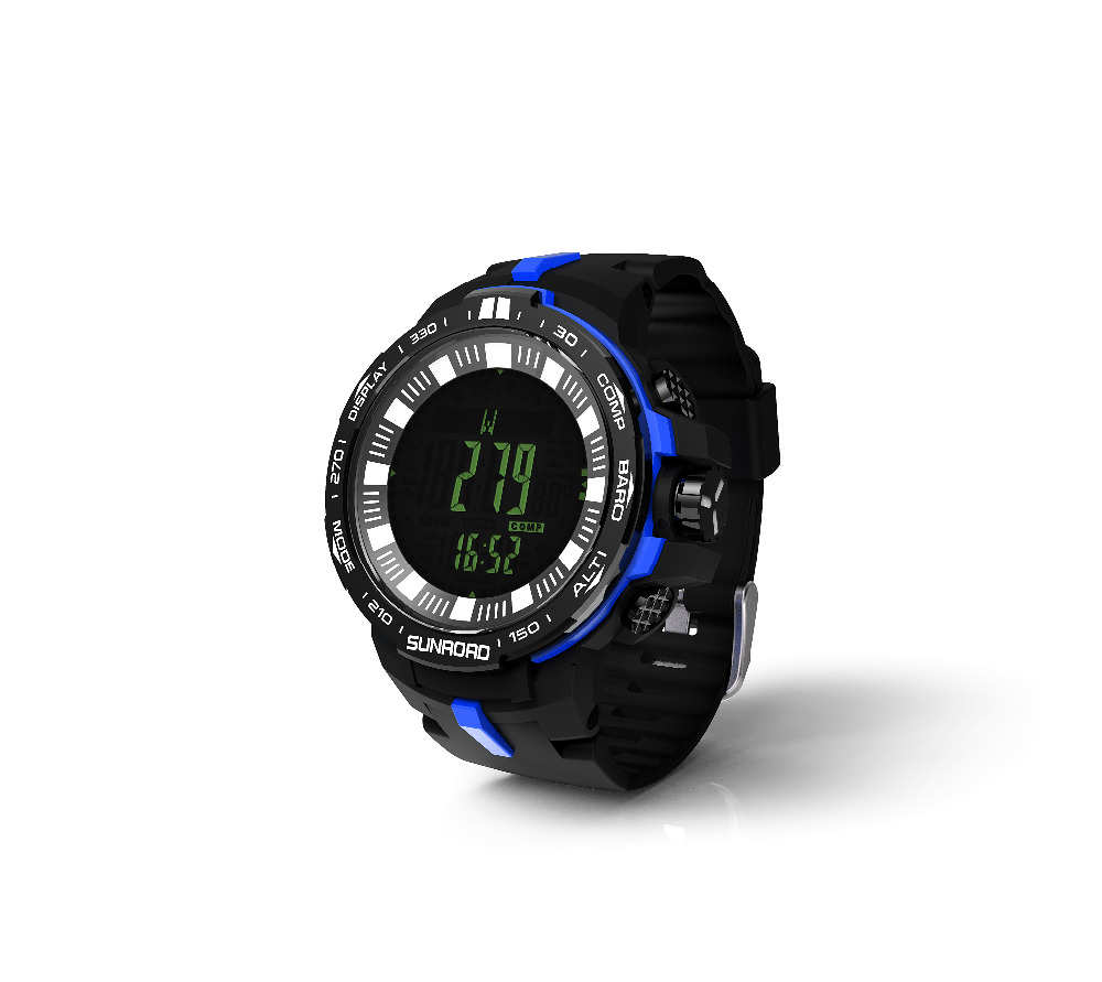 SUNROAD Men s Digital Sports Watch FR861B Barometer Clock Compass Altimeter Temperature Swimming Hiking Watches Blue