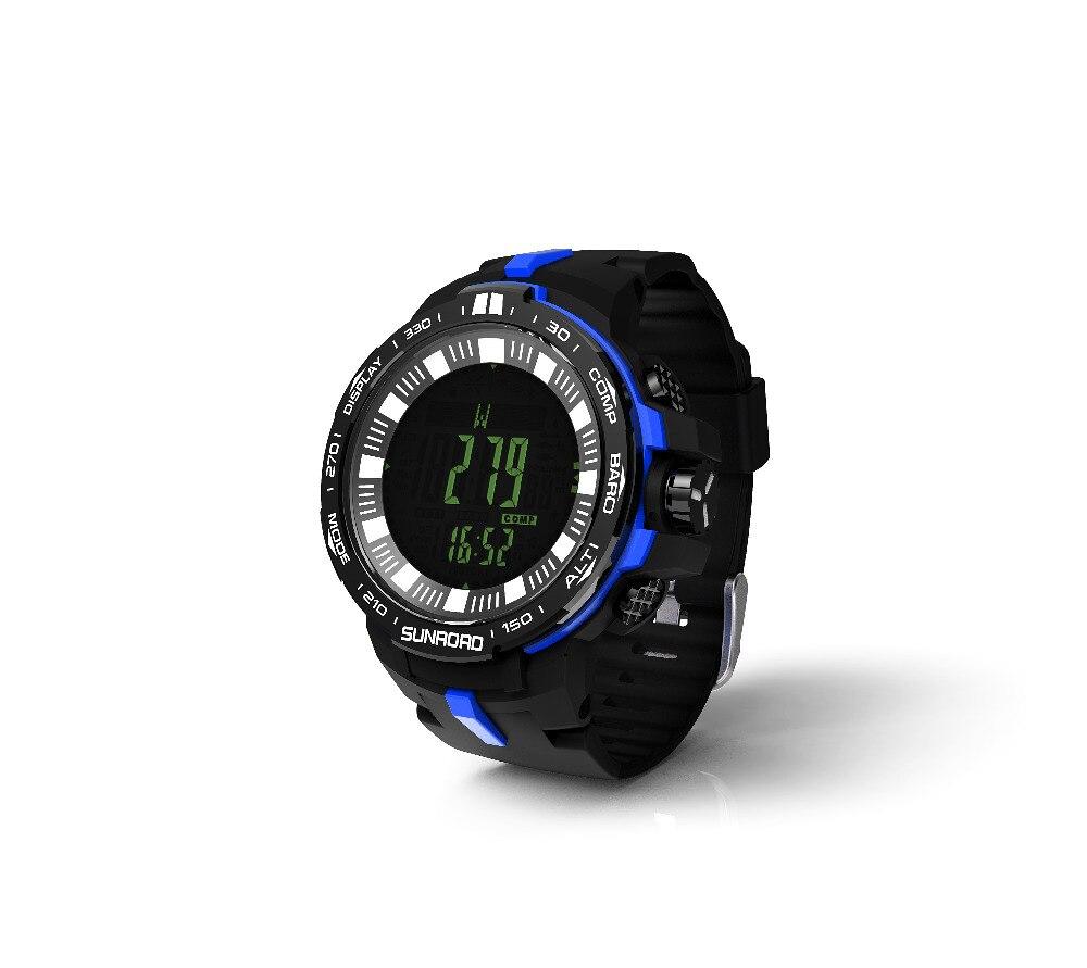 SUNROAD montre de sport numérique pour hommes FR861B-Barometer horloge boussole altimètre température natation randonnée montres (bleu)
