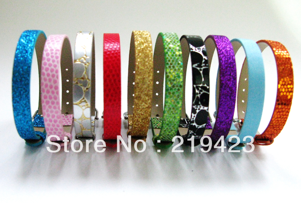 8mm 10pcs PU Wristband Bracelet DIY Accessories Fit 8mm slide letters slide charms Free Shipping