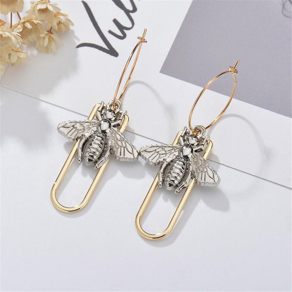 MLING oro nuevo Animal aleación pendientes Vintage abeja gota pendientes para las mujeres