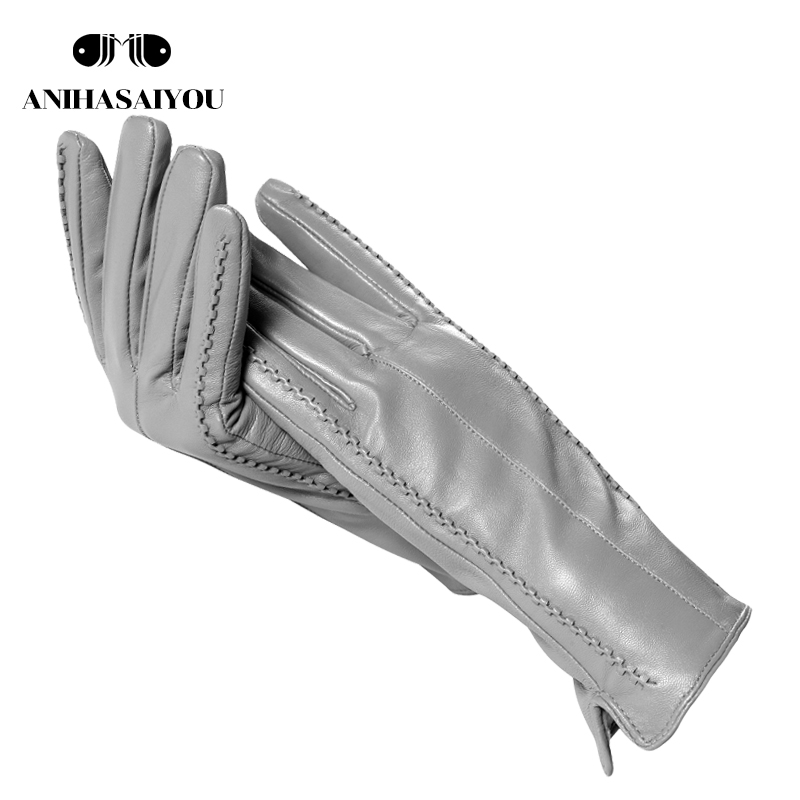 2019 High Grade Women Leather Gloves,Genuine Leather Light Grey Warm Women's Winter Mittens,Simple Sheepskin Gloves Female-2226