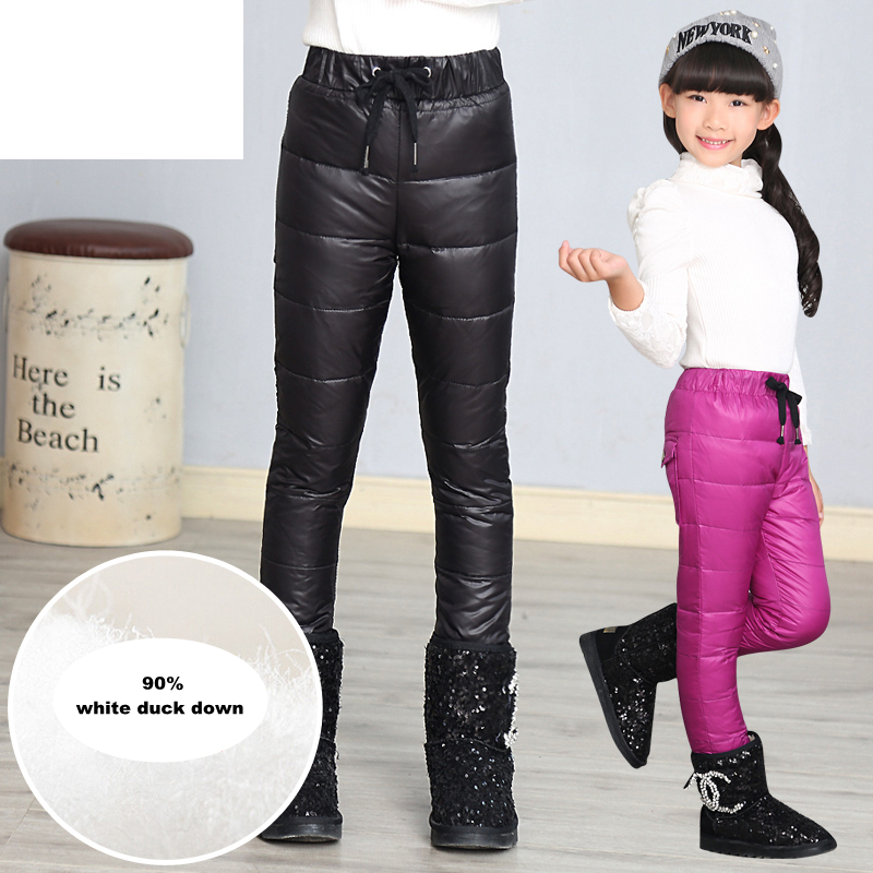 Hot Sale Girls Pants Winter Fashion 2017 Children Thicken Warm Down Trousers High Quality Teenage Soft Comfortable Pure Leggings
