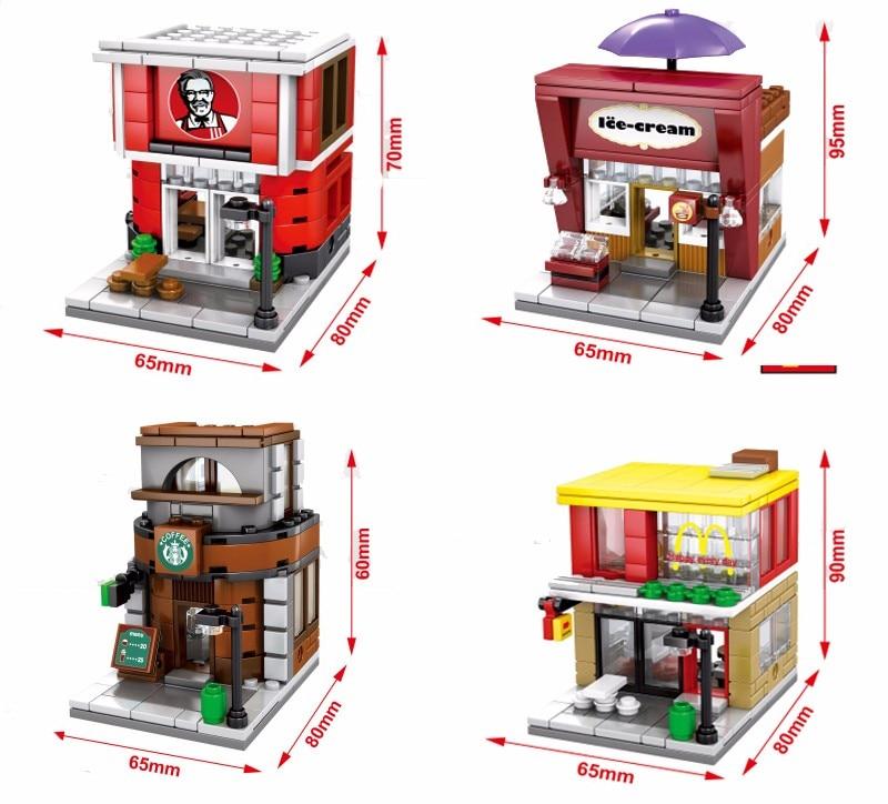 4 Sets Mini Street Coke Shop Mcdonald S Starbucks Famous