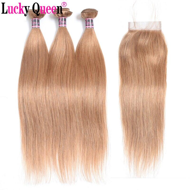 Brésilienne Cheveux Raides #27 Miel Blonde de Cheveux Humains Bundles avec Fermeture 4 pcs/lot Remy Cheveux Armure 3 Bundles avec fermeture