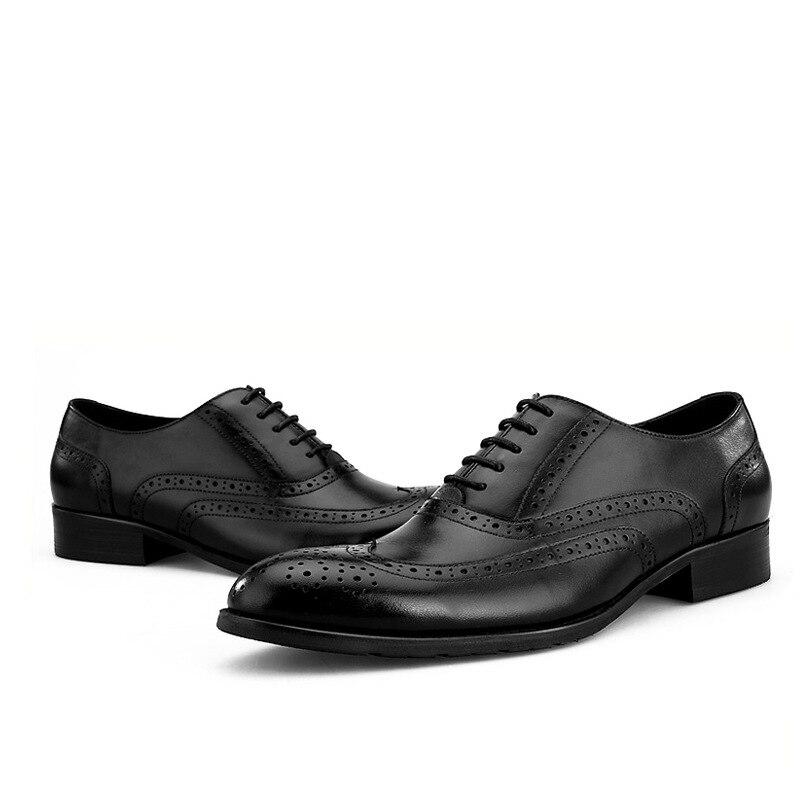 Sapatos Homens brown Couro Vestido Preto De Masculinos Casamento Dos Brown Genuíno Sociais Qualidade Oxfords Negócios 0YCq5w5