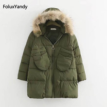 Warm Thick Parkas Women Winter Casual Faux Fur Trim Hooded Parkas Outerwear KKFY409