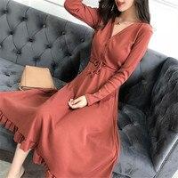 2018 Fashion Autumn Winter New Knit Dress Female Long sleeved Temperament Slim v neck Spring Women's Dresses X110