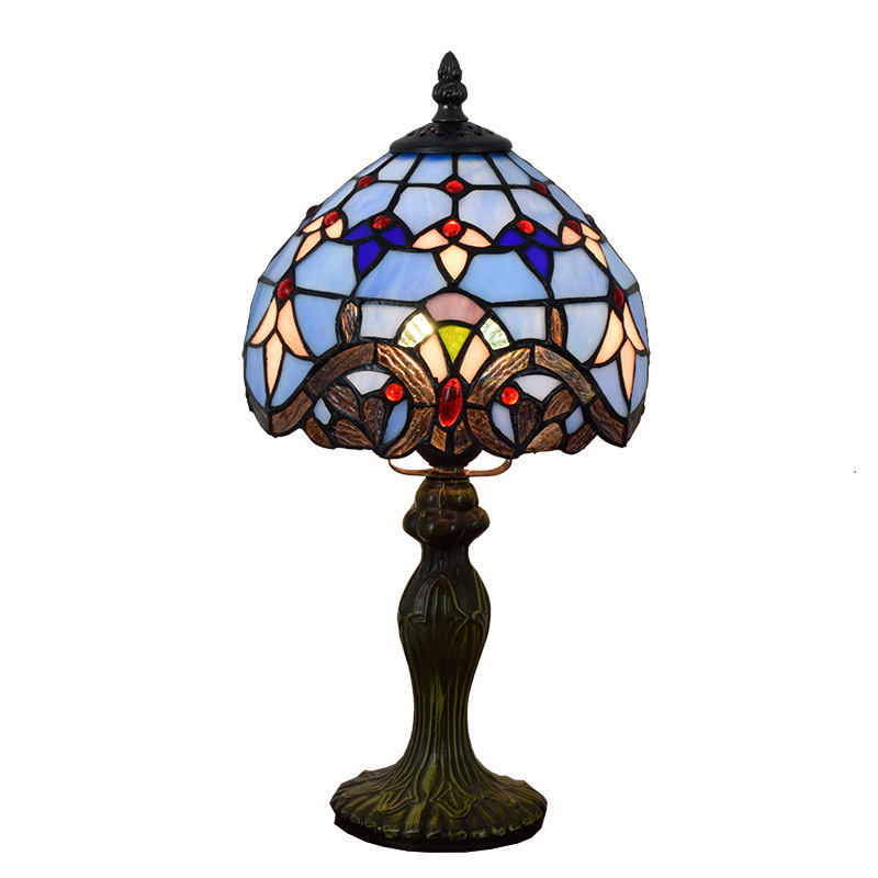 Led lamps European Tiffany led table lamp stained glass living room dining room bedroom table lamp blue Baroque read table lamp