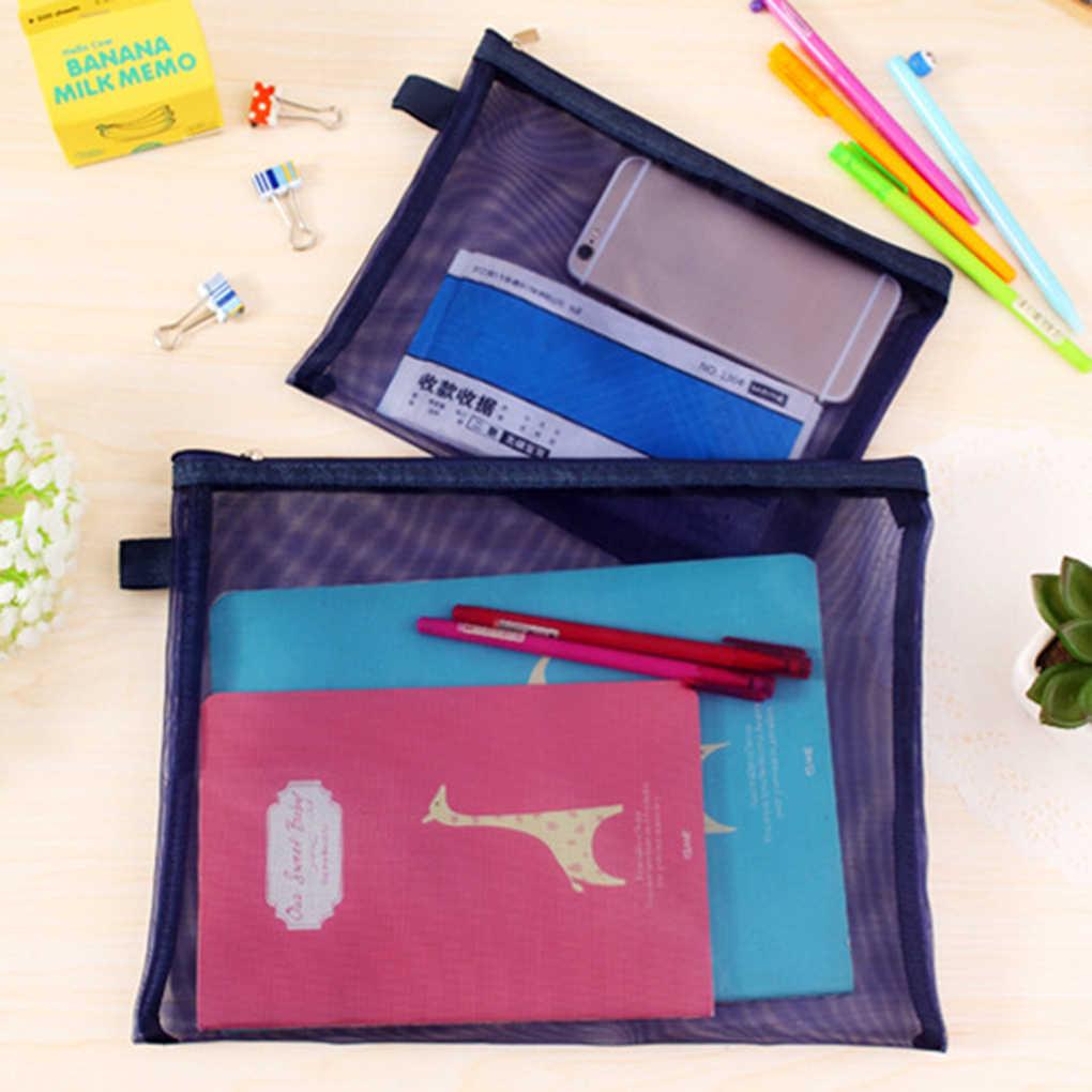 Portable Mesh Net Pencil Case Simple Student Kids Pencil Bag Nylon Cosmetic Bag School Office Supplies Pen Box Stationery