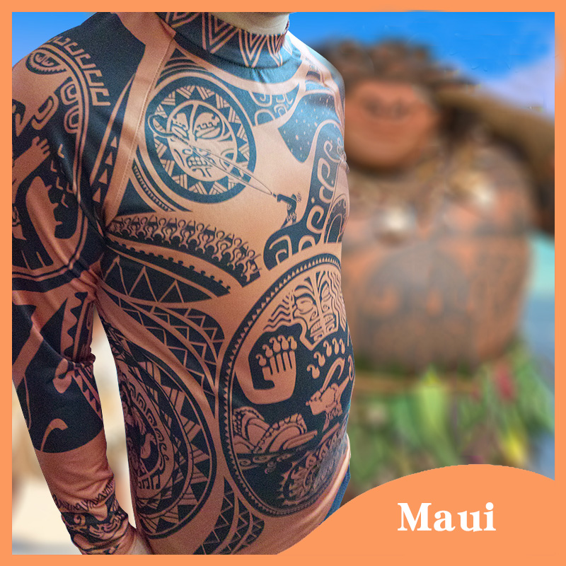 2017 New Cartoon Movie Moana Maui Cosplay Costume Men's Fashion Halloween Carnival Top Full Sleeve Printed T-shirt + Pants