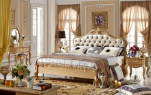Classical Champagne Golden Luxury Sofa Bed, Simple European Royal Court Carving King Queen Size Solid Wood bed MB-A06