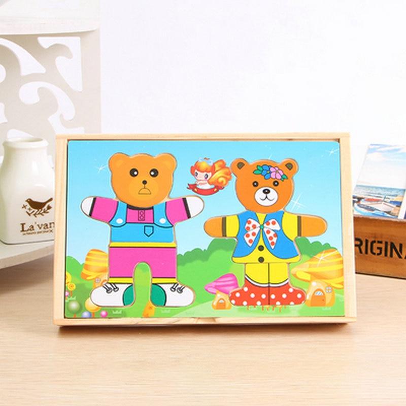 Безкоштовна доставка дітей деревини мультфільм ведмідь плаття зміна одягу одягання Jigsaw дерев'яні головоломки гра навчальні іграшки подарунок