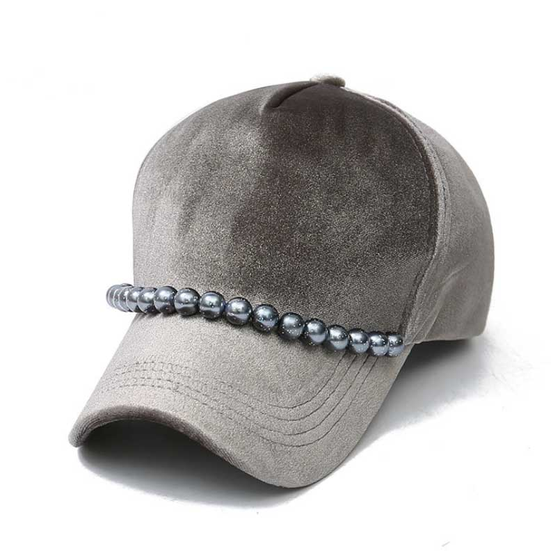 f60d087e3 new Fashion real mink pom poms wool Pearl decoration baseball cap ...