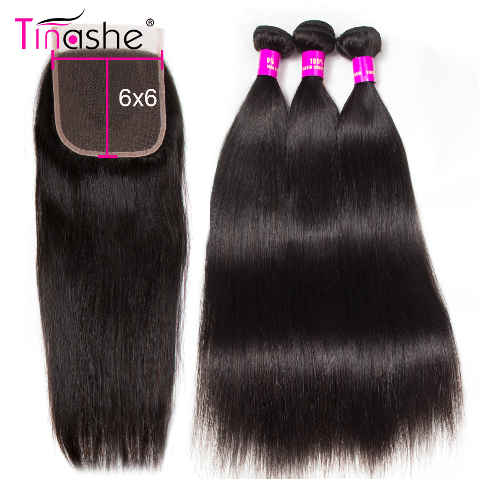 Tinashe Hair 6x6 zamknięcie koronki z wiązkami pasma prostych włosów z zamknięciem Remy brazylijski ludzki włos 3 wiązki z zamknięciem