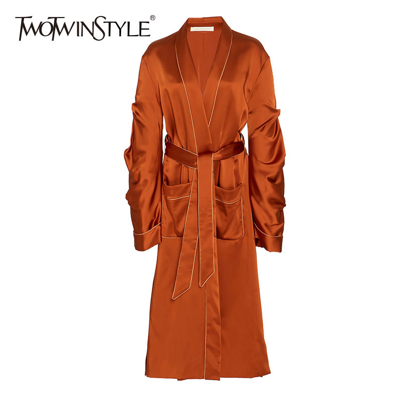 TWOTWINSTYLE Ruched Women's   Trench   Coat V Neck Lace Up High Waist Patchwork Pocket Long Windbreaker 2018 Spring Fashion New